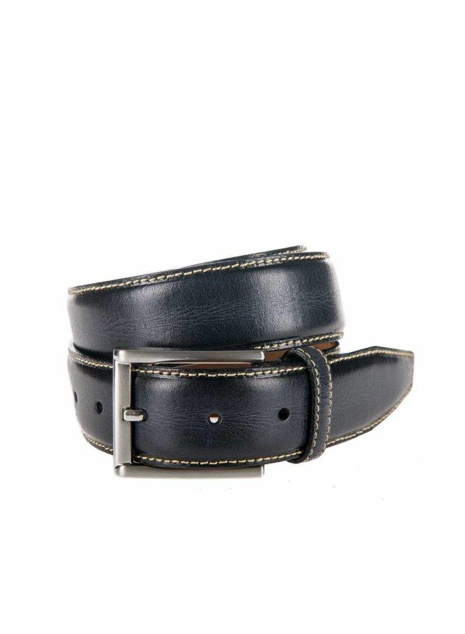 Stijlvolle zwart / antraciet kleurige pantalonriem met contrasterend stiksel