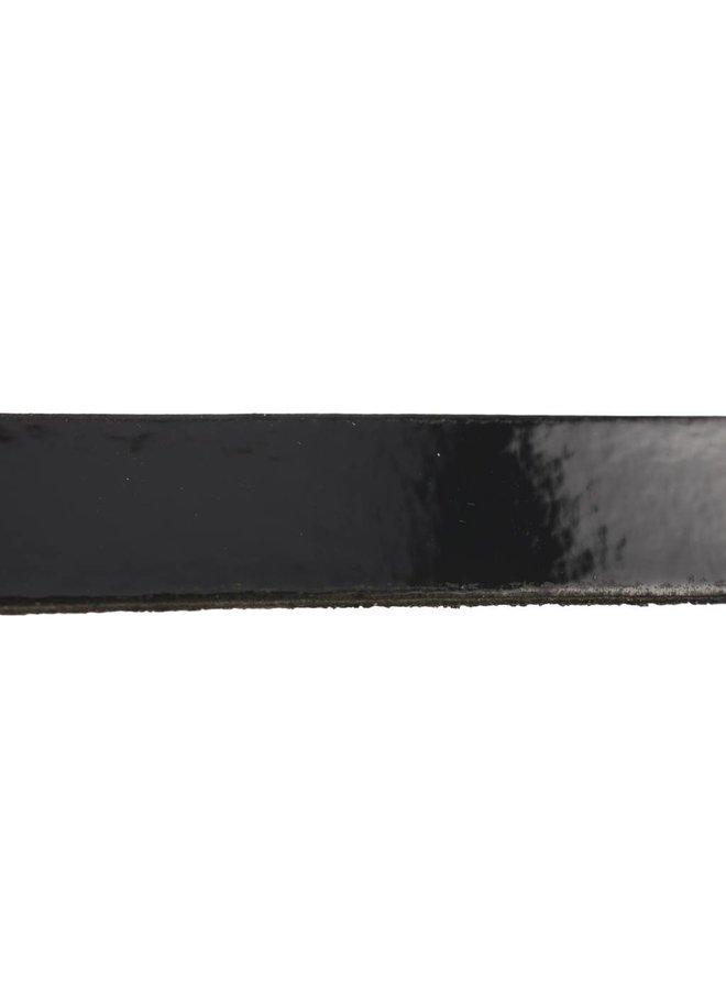 Luxe brede damesriem met hoefijzer gesp in zwarte kleur