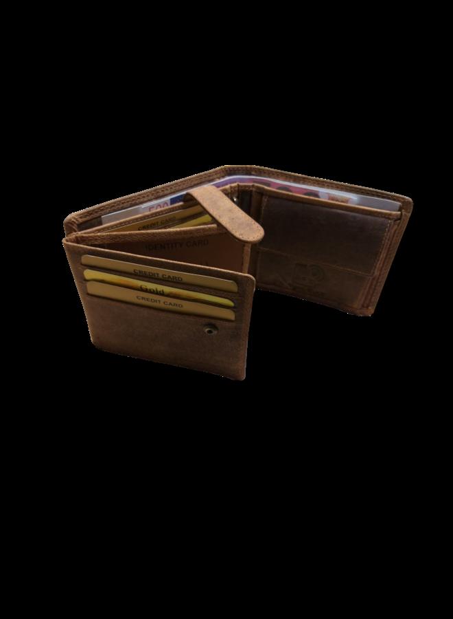 Portemonnee Skimm RFID Protected - Heren - 100% echt Leer - Natural - 12,5x9,5x2,0 cm. - Liggend model