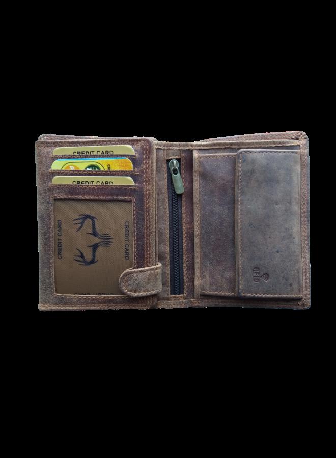 Portemonnee Skimm RFID Protected - Heren - 100% echt Leer - Natural - 9,5x12,5x2,0 cm. - Staand model