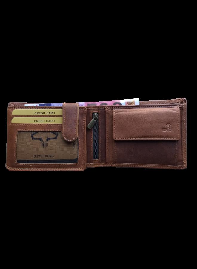 Portemonnee Skimm RFID Protected - Heren - 100% echt Leer - Cognac - 12,5x9,5x2,0 cm. - Liggend model