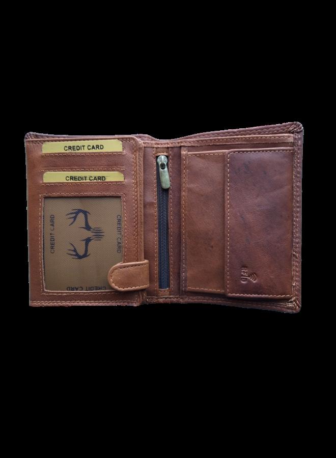Portemonnee Skimm RFID Protected - Heren - 100% echt Leer - Cognac - 9,5x12,5x2,0 cm. - Staand model