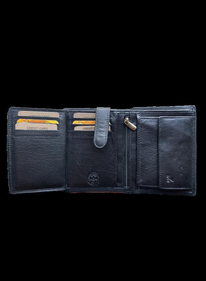 Portemonnee Skimm RFID Protected - Heren - 100% echt Leer - Zwart - 9,5x12,5x2,0 cm. - Staand model