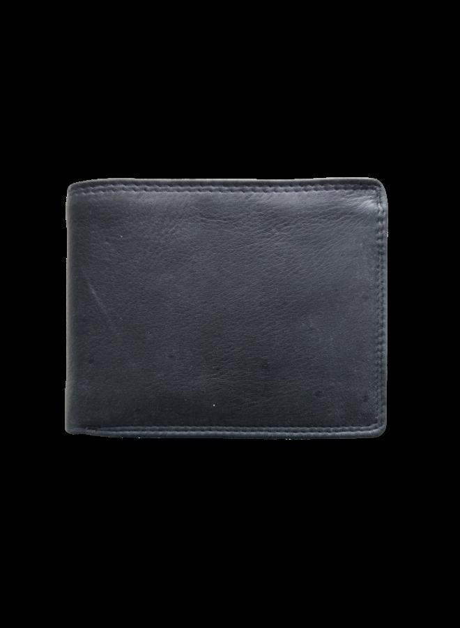 Portemonnee Skimm RFID Protected - Heren - 100% echt Leer - Zwart - 12,5x9,5x2,0 cm. - Liggend model