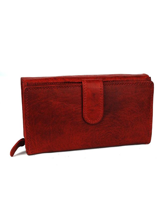 Rode dames portemonnee - Wild - echt leder (17.5 x 9.5 cm)