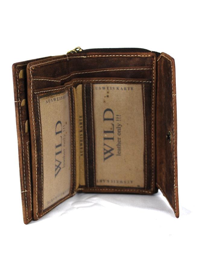Bruine dames portemonnee Wild - Echt leder (14.0 x 9.0 cm)