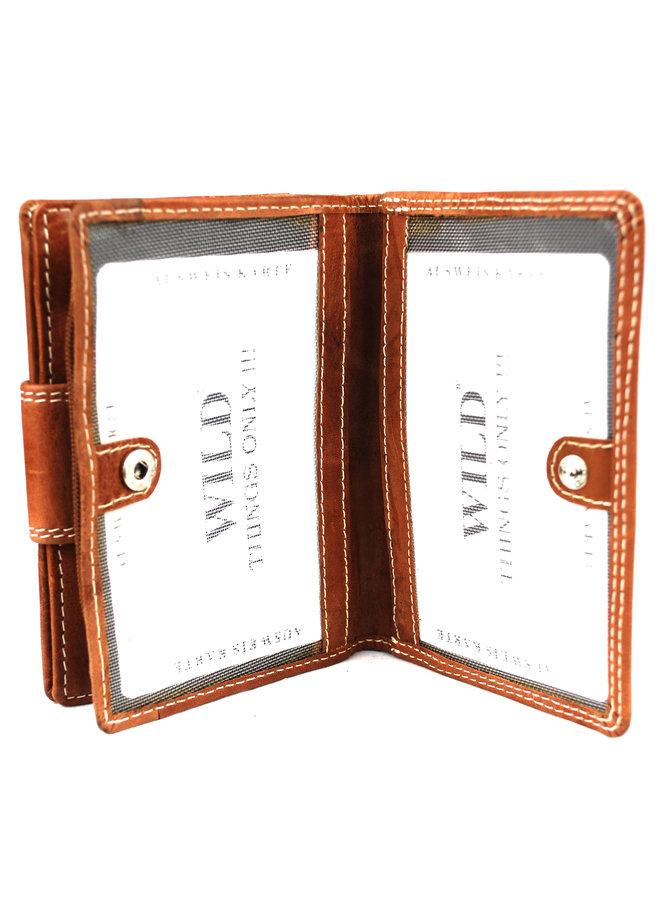Cognac dames portemonnee - Wild - echt leder (9.0x3.0x12.5 cm)