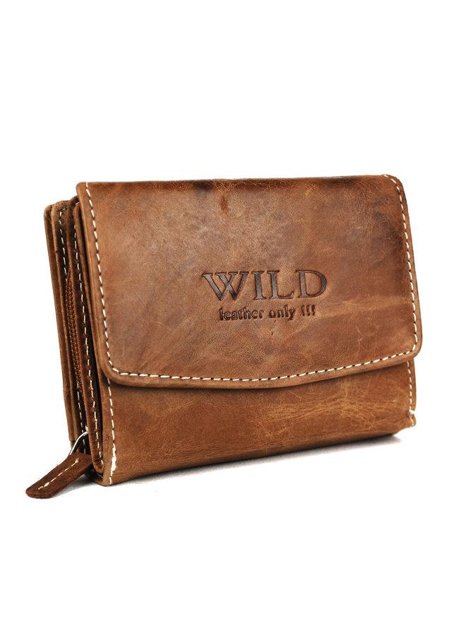 Bruine dames portemonnee - Wild - echt leder (12.0x3.0x9.0 cm)