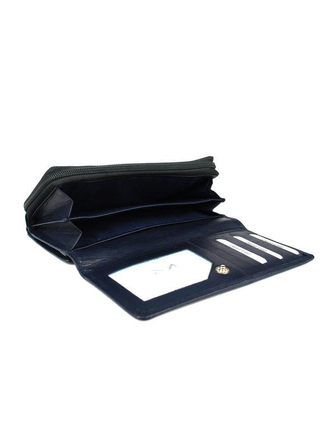 Blauwe Damesportemonnee - Echt Leder (17.5 x 9.5 cm)