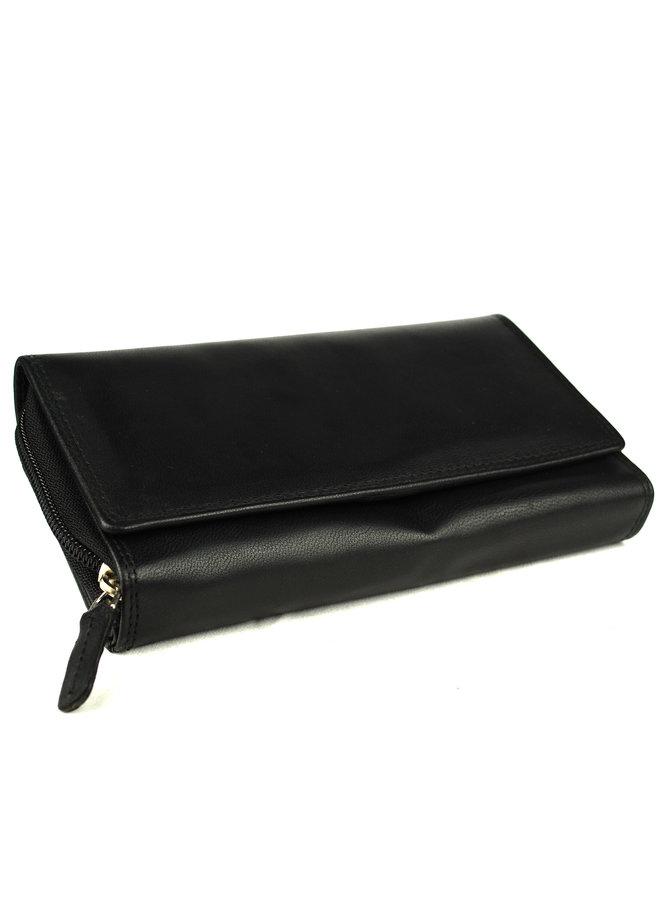 Zwarte Damesportemonnee - Echt Leder (17.5 x 9.5 cm)