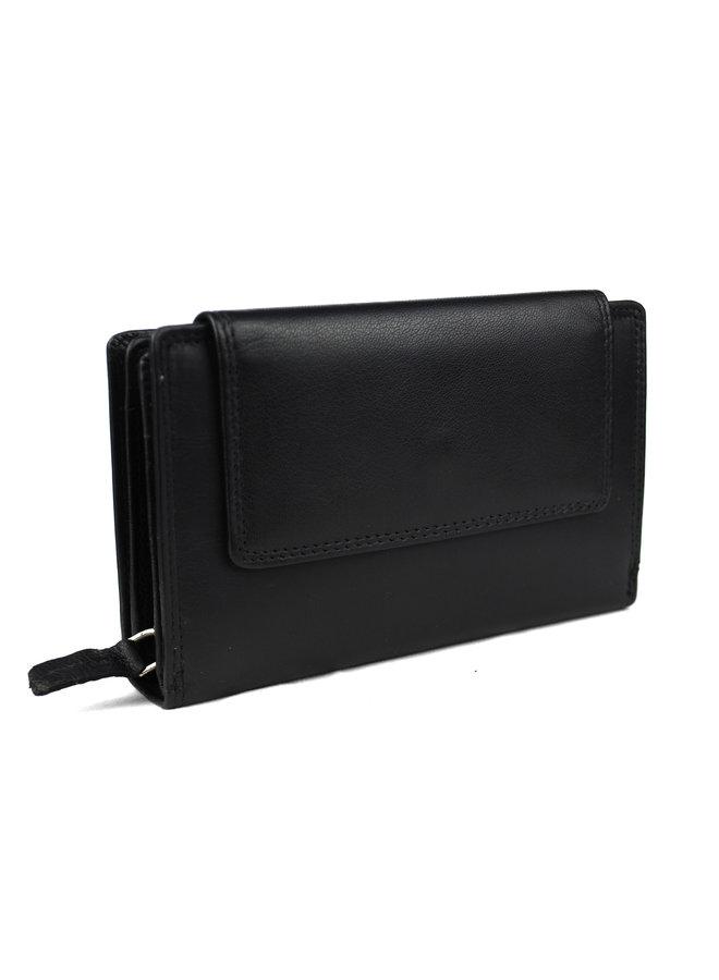 Zwarte damesportemonnee - Echt Leder (15.5 x 10.0 cm)