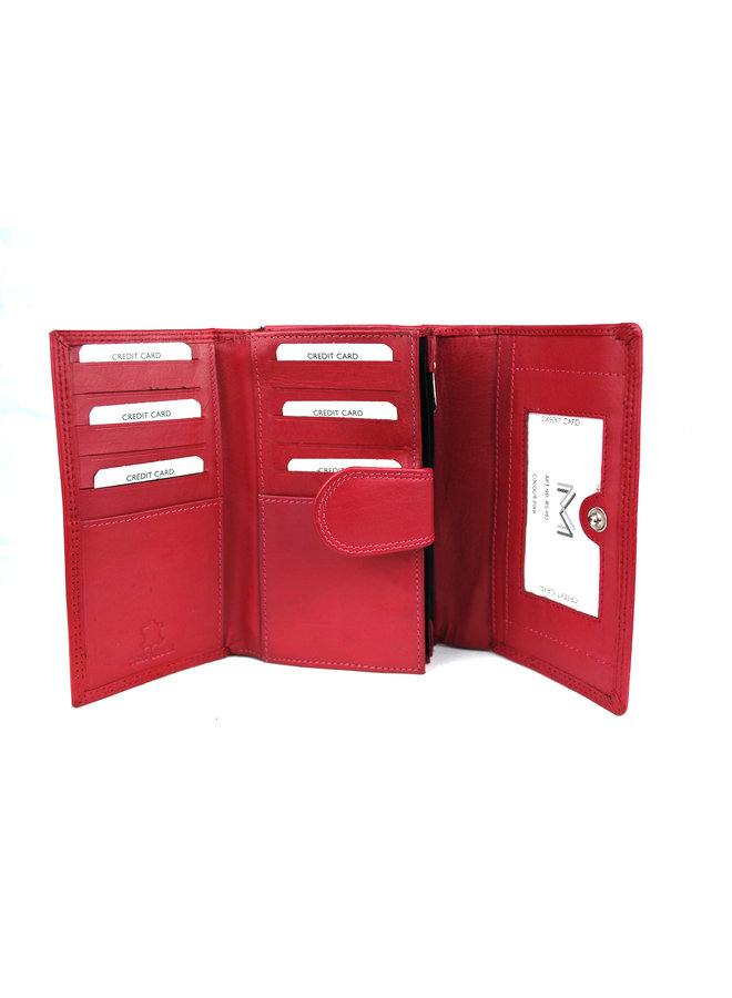 Rode dames portemonnee - Echt leder (16 x 10 cm)