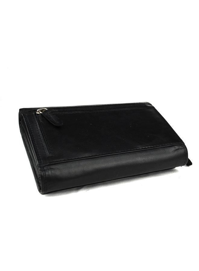 Zwarte dames portemonnee - Echt leder (16 x 10 cm)