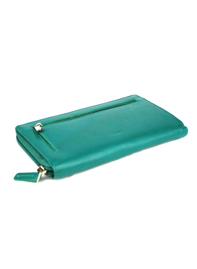 Turquoise dames portemonnee - echt leder (18.5 x 10.5 cm)