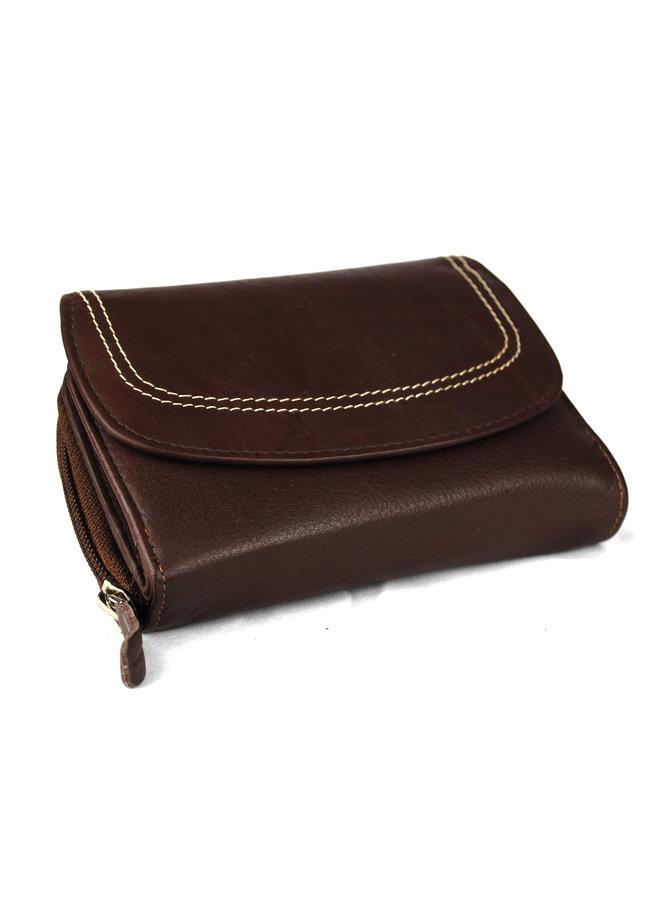Bruine dames portemonnee - echt leder (14 x 10 cm)