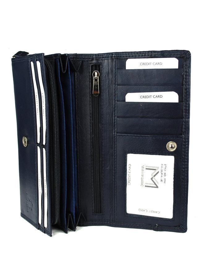 Blauwe dames portemonnee - echt leder (19 x 10 cm)