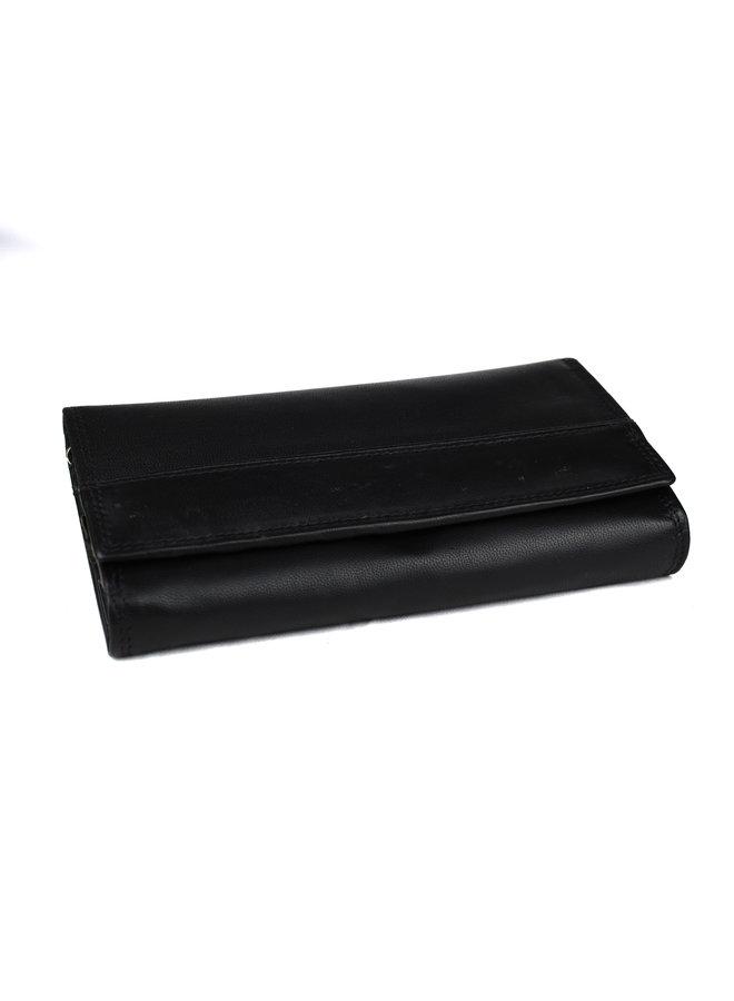 Zwarte dames portemonnee - echt leder (19 x 10 cm)