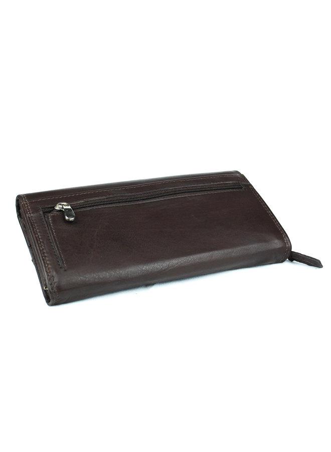 Bruine dames portemonnee - echt leder (19 x 10 cm)