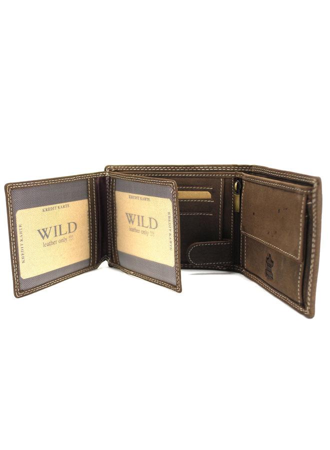 Brieftaschenmänner Wild leder d. braun12x2x9.5 cm (AD204-15)