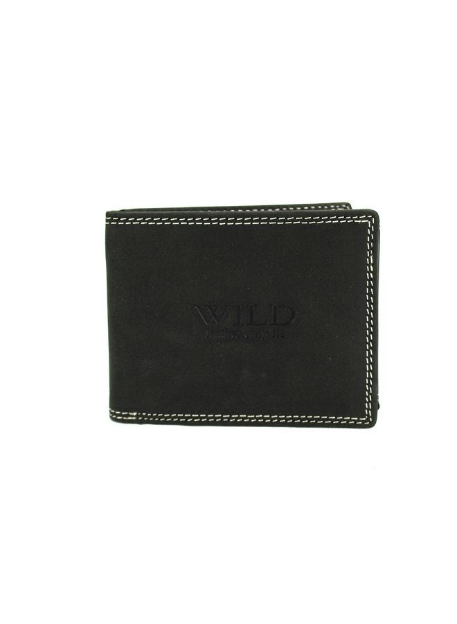 Brieftasche Männer Wild leder schwarz 12x2x9.5 cm (AD208-6)