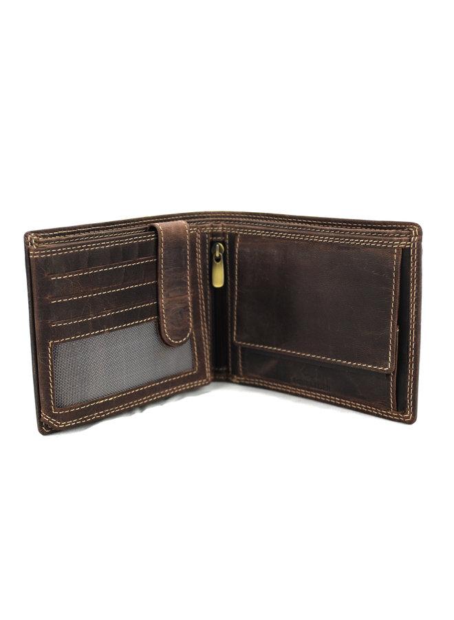 Brieftasche Männer Wild leder d.brown 11.5x15x9 cm (Rg505-15)