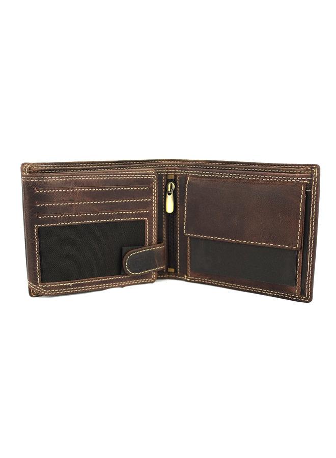 Brieftasche Männer Wild leder d.brown 11.5x1,5x9 cm (RG504-15)