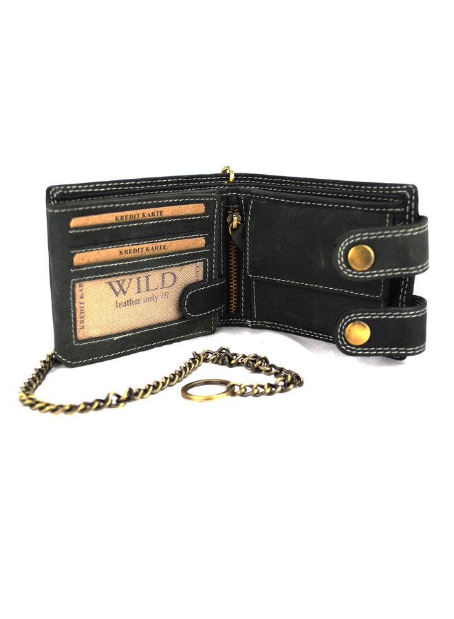 Brieftasche Herren Wild leder schwarz. 11.5 x 2 x 9 cm (RS400W-6)