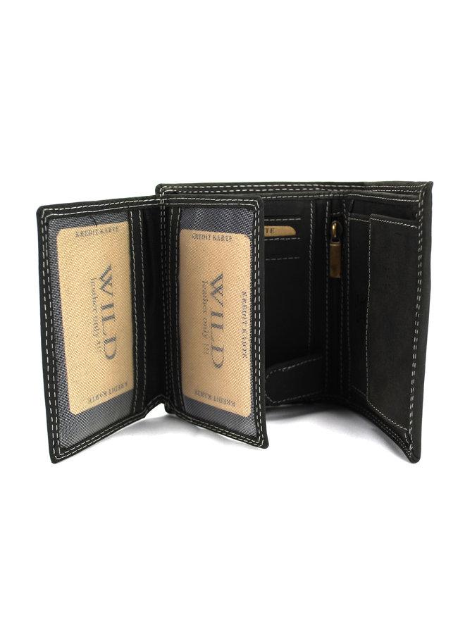 Brieftasche Herren Wild leder schwarz 9x2x12 cm (AD205-6)