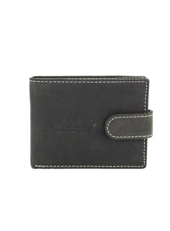 Brieftasche Herren Wild leder schwarz 11.5x2x9 cm (AD207-6)