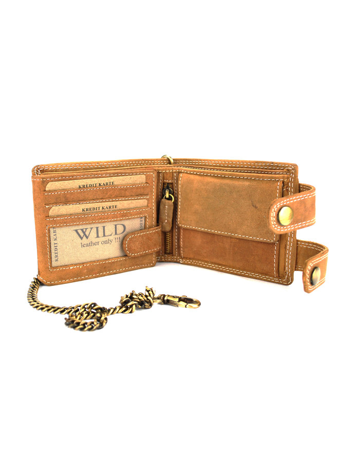 Brieftasche Herren Wild leder l.brown 11.5x2x9 cm (RS400W-13)