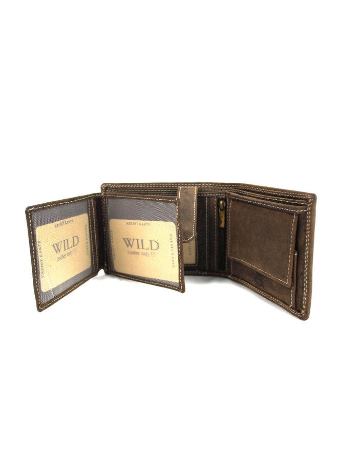 Brieftasche Herren Wild leder d.brown 12x2x9.5 cm (AD206-15)