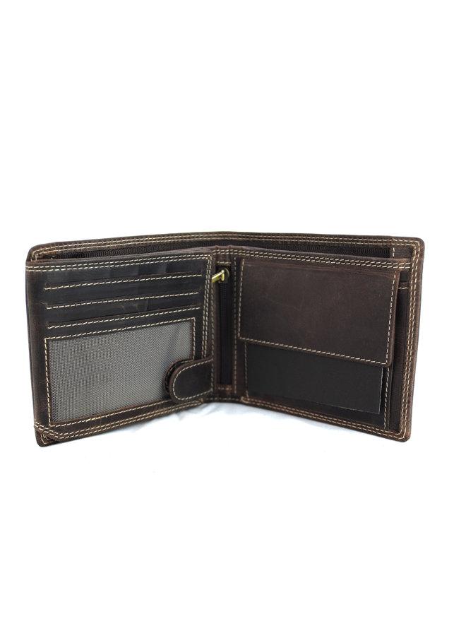 Brieftasche Herren Wild leder d.brown 11.5x1,5x9cm (MW210-15)