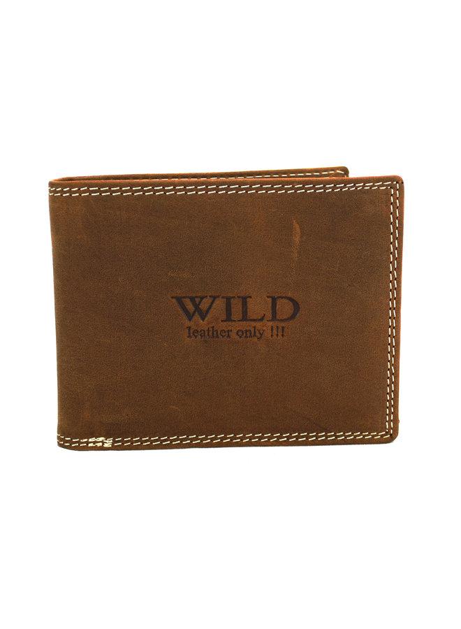 Brieftasche Herren Wild leder braun 12x2x9.5 cm (AD204-14)