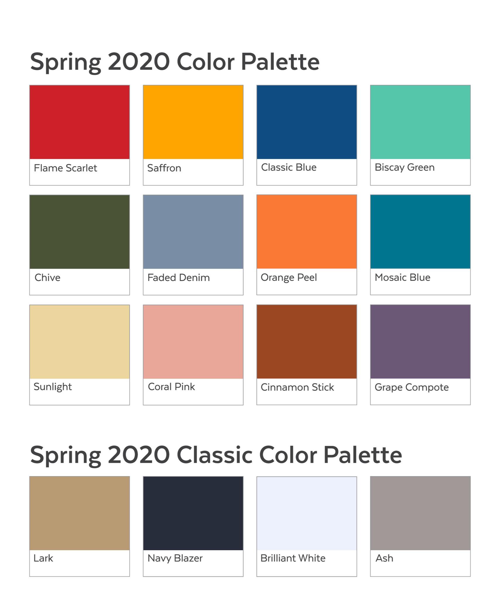Lente- en zomerkleuren 2020