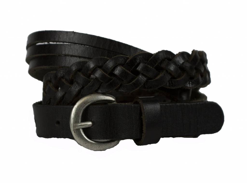 Zwart gevlochten riem