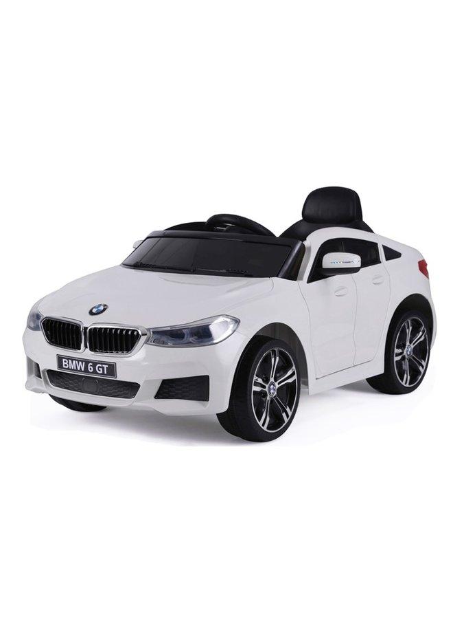 BMW 6 GT 12v, muziekmodule, lederen stoel, rubberen EVA-banden (JJ2164) (wit)