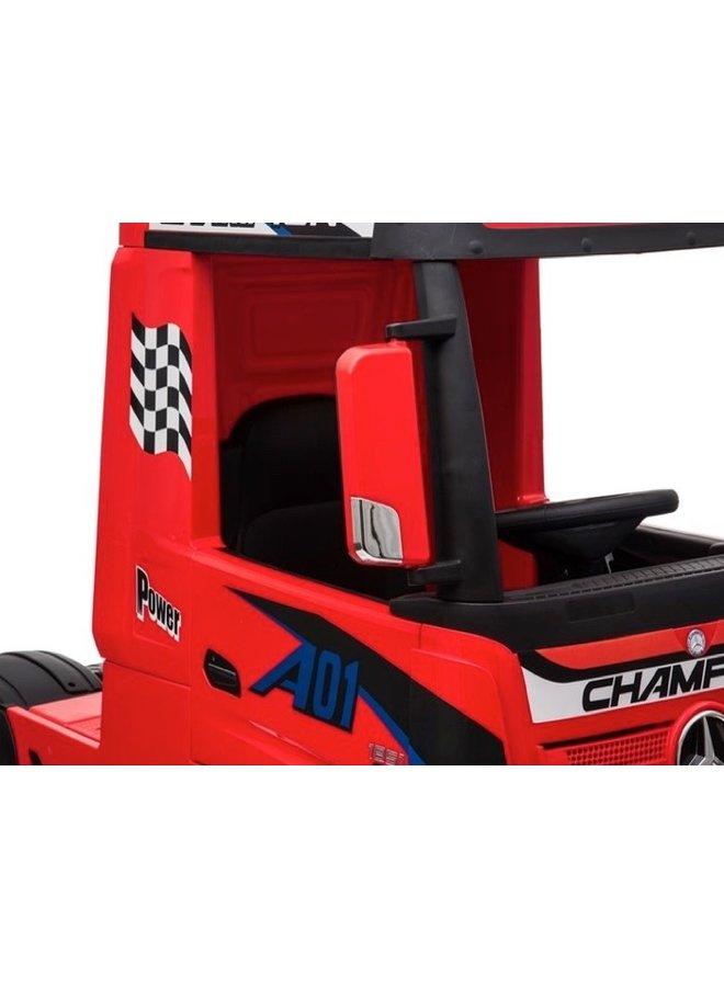 Mercedes-Benz Actros truck 12v, muziekmodule, lederen stoel, rubberen EVA-banden (HL358) (rood)