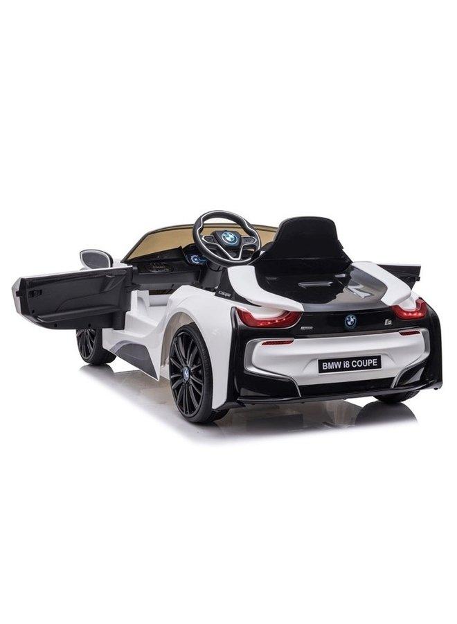 BMW i8 12v, muziekmodule, lederen stoel, rubberen EVA-banden (JE1001) (wit)