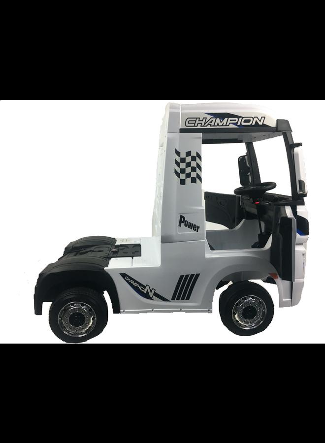 Mercedes-Benz Actros truck 12v, muziekmodule, lederen stoel, rubberen EVA-banden (HL358) (wit)