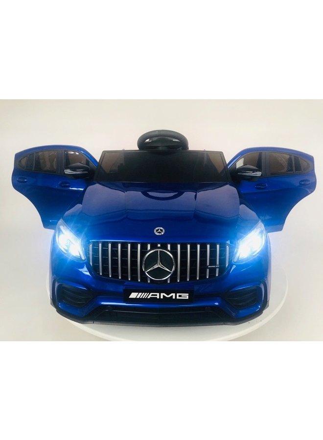 Mercedes Benz GLC63 S 12v, muziekmodule, lederen stoel, rubberen EVA-banden (QLS5688) (hoogglans blauw)