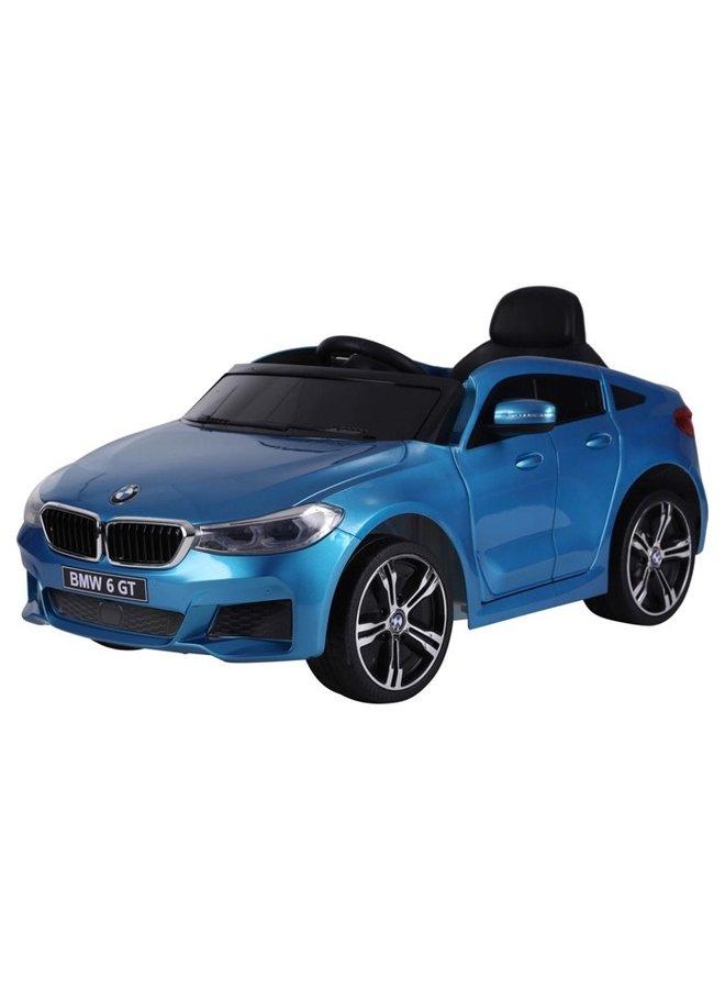 BMW 6 GT 12v, muziekmodule, lederen stoel, rubberen EVA-banden (JJ2164) (hoogglans blauw)