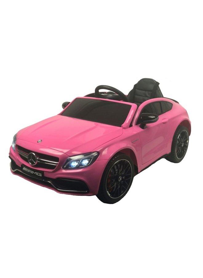 Mercedes C63 AMG 12v, muziekmodule, lederen stoel, rubberen EVA-banden (QY1588) (roze)