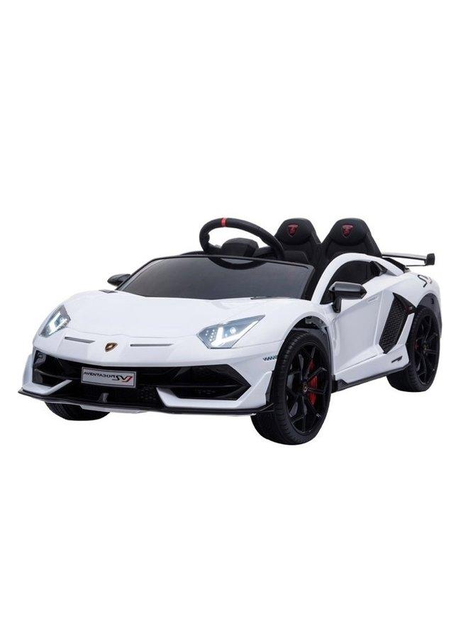 Lamborghini Aventador 12v, muziekmodule, lederen zitting, rubberen EVA-banden (HL328) (wit)
