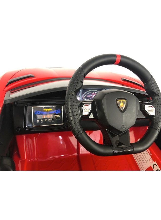 Lamborghini Aventador 12v, music module, leather seat, rubber EVA tires (HL328)