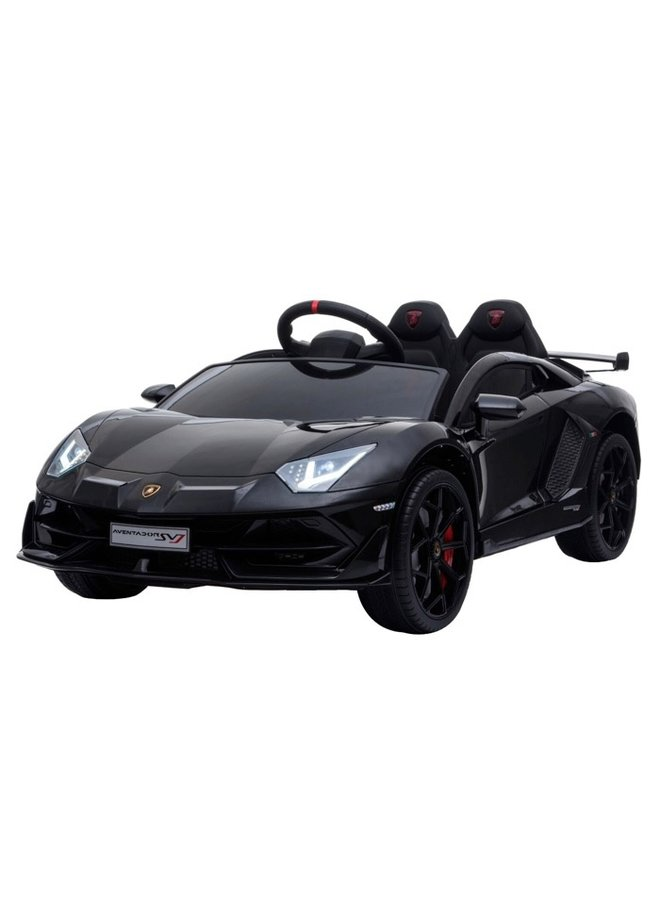Lamborghini Aventador 12v, muziekmodule, lederen zitting, rubberen EVA-banden (HL328) (hoogglans zwart)