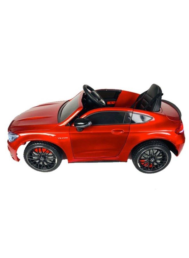 Mercedes C63 AMG 12v, muziekmodule, lederen stoel, rubberen EVA-banden (QY1588) (hoogglans rood)