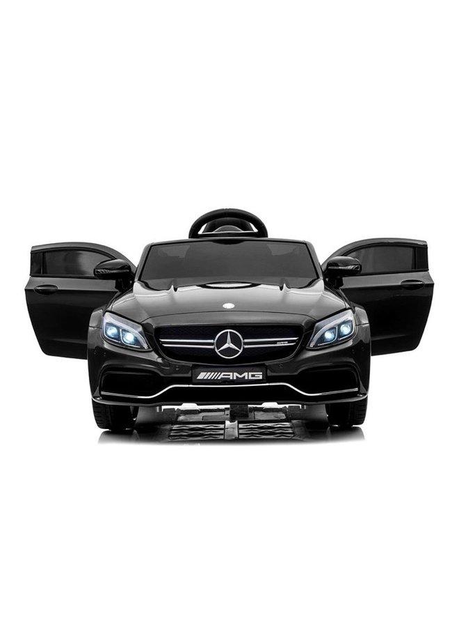 Mercedes C63 AMG 12v, muziekmodule, lederen stoel, rubberen EVA-banden (QY1588) (hoogglans zwart)
