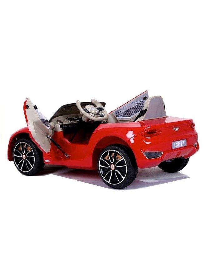 Bentley EXP 12v, muziekmodule, lederen zitting, rubberen EVA-banden (JE1166) (hoogglans rood)