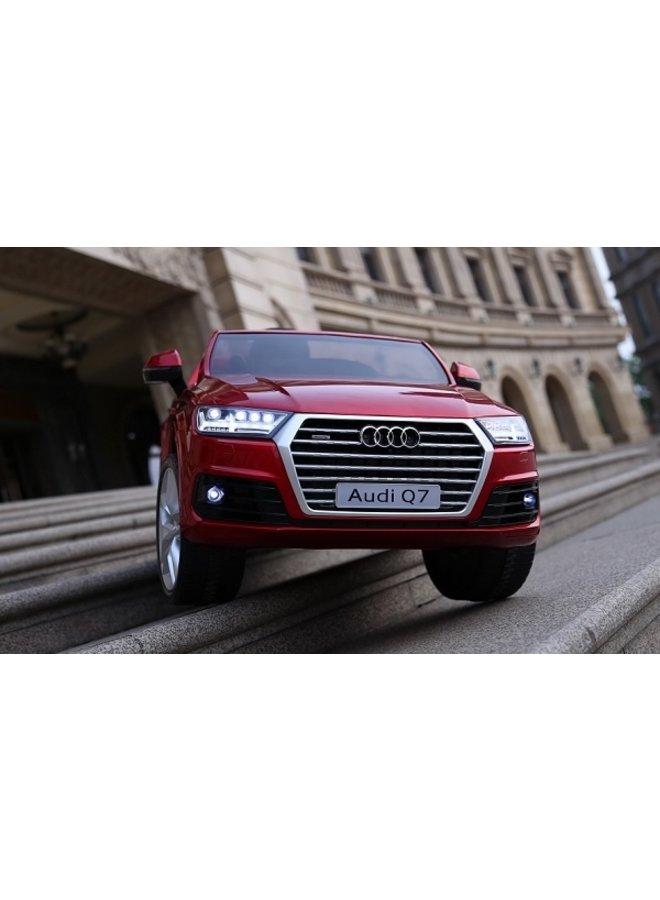 Audi Q7 12v, muziekmodule, lederen stoel, rubberen EVA-banden (HL159) (hoogglans rood)