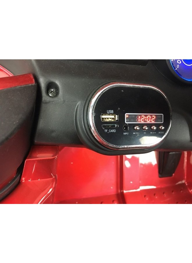 Mercedes ML350 12v, muziekmodule, lederen stoel, rubberen EVA-banden (ML350) (hoogglans rood)